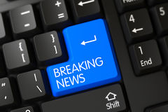 Breaking News CloseUp of Blue Keyboard Button. 3D. Royalty Free Stock Images
