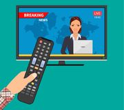 Breaking news concept. News on television with remote control. News anchor broadcasting. Vector illustration in flat style royalty free illustration