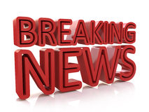 Breaking news 3D text on white background Stock Photos