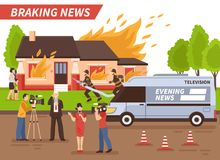 Breaking News Illustration. Breaking news of different tv channels live reportage from scene of firefighting of reential house vector illustration Stock Image