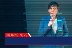 Breaking news with digital glitch effect Royalty Free Stock Photography
