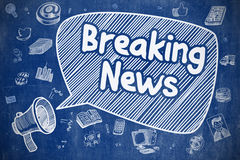 Breaking News - Doodle Illustration on Blue Chalkboard. Royalty Free Stock Photos