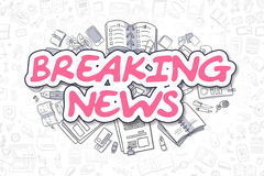 Breaking News - Doodle Magenta Text. Business Concept. Royalty Free Stock Image