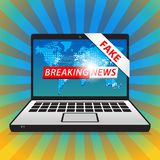 Breaking News - Fake. World news with map backgorund royalty free stock images