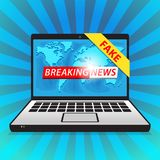 Breaking News - Fake. World news with map backgorund stock photo