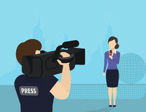 Breaking news. Female journalist with microphone is broadcasting live news looking to videographer Stock Images