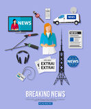 Breaking news flat design concept with place for Royalty Free Stock Images
