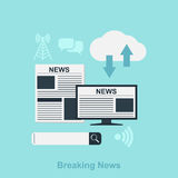 Breaking News. Flat style illustration for news concept with icons, newspaper, computer, search bar, cloud Royalty Free Stock Photography