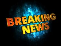 Breaking News - Gold 3D Words. Breaking News - Gold 3D Words on Dark Digital Background Royalty Free Stock Photography