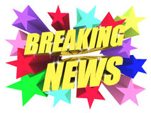 Breaking News golden text among bright multicolored stars. 3d render Royalty Free Stock Photography