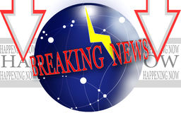 Breaking news. Graphic premise.Illustration news marked by lightning. Happening now vector illustration