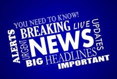 Breaking News Headlines Words. Breaking News Headlines Word Collage Stock Photo