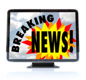 Breaking News - High Definition Television HDTV Royalty Free Stock Photo
