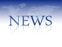 Breaking news - informationsbladmall med världskartan Stock Illustrationer