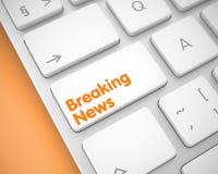 Breaking news - inskrift på det vita tangentbordtangentbordet 3d royaltyfri illustrationer