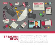 Breaking news and journalism profession flat vector poster design of journalist working items. Breaking news poster and journalist profession working equipment Royalty Free Stock Photo