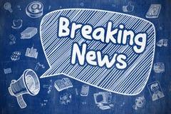 Breaking news - klotterillustration på den blåa svart tavlan stock illustrationer