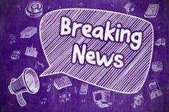 Breaking news - klotterillustration på den purpurfärgade svart tavlan royaltyfri illustrationer