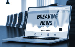 Breaking News on Laptop in Meeting Room. 3D. Royalty Free Stock Images