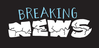 Breaking news lettering sign Royalty Free Stock Photo