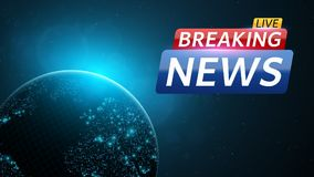 Breaking news live. Abstract background with a glowing blue planet earth. Technology and business. Live on TV. Space and stars. Ve. Ctor illustration Royalty Free Stock Photo