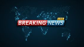 Breaking news live. Abstract futuristic background with a glowing blue world map. Technology and business. Live on TV. Vector. Illustration Royalty Free Stock Images