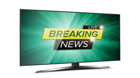 Breaking News Live Background Vector. Green TV Screen. Business Banner Design Template. Isolated On White Illustration Stock Photo