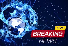 Breaking News Live Banner on Blue Glowing Plexus Stock Image