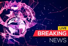 Breaking News Live Banner on Plexus Structure Royalty Free Stock Images