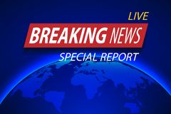 Breaking News Live on planet Background. Business or Technology concept with World Map. TV news Vector Illustration. Royalty Free Stock Images