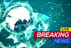 Breaking News Live with World Map Africa, Europe Royalty Free Stock Images
