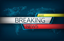 Breaking news live on world map background vector illustration. stock photo