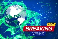 Breaking News Live with World Map on Blue Backdrop Royalty Free Stock Photo