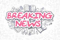 Breaking news - magentafärgad text för klotter äganderätt för home tangent för affärsidé som guld- ner skyen till royaltyfri illustrationer