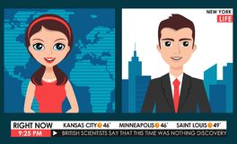 TV breaking news male in a coat & female in red dress teleconference Royalty Free Stock Images