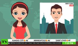 TV breaking news male in a coat & female in red dress teleconference Stock Images