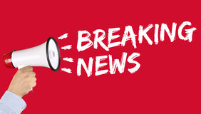 Breaking news media announcement announce information megaphone Royalty Free Stock Images