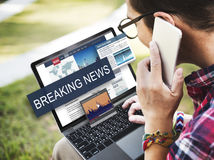 Breaking News Media Announcement Social Concept Stock Photo