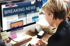 Breaking News Media Announcement Social Concept. Senior businesswoman using computer breaking news media announcement social Royalty Free Stock Photo