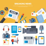 Breaking news and media banner elements concept flat design Royalty Free Stock Images