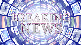 BREAKING NEWS and Monitors Tunnel Background, Computer Graphics Stock Photography