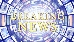 BREAKING NEWS and Monitors Tunnel Background, Computer Graphics royalty free stock photography