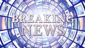 BREAKING NEWS och bildskärmtunnelbakgrund, datordiagram Arkivbild