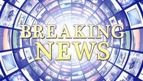 BREAKING NEWS och bildskärmtunnelbakgrund, datordiagram Royaltyfri Fotografi