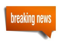 Breaking news orange 3d speech bubble. Breaking news orange 3d square isolated speech bubble Royalty Free Stock Images