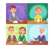 Breaking news people. Vector Illustration anchorman breaking news and tv screen layout. Professional interview newsreader breaking news anchor. Communication Royalty Free Stock Images
