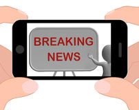 Breaking News Phone Shows Major Developments And Bulletin Royalty Free Stock Image