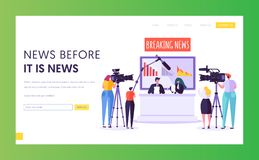 Breaking News Program Concept Landing Page. Videographer with Camera Shoot in Television Studio. Reporter Character. Read Text Sitting at Desk Website or Web royalty free illustration