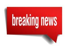 Breaking news red 3d speech bubble. Breaking news red 3d square isolated speech bubble Royalty Free Stock Photo
