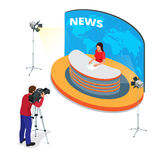 Breaking news reportage and press conference. Journalist interview an analyst. Flat 3d vector isometric illustration. Breaking news reportage and press Stock Image